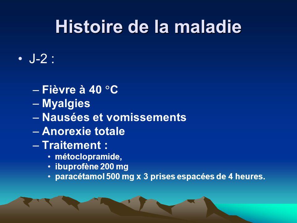 Histoire de la maladie J-2 : –Fièvre à 40  C –Myalgies –Nausées et vomissements –Anorexie totale –Traitement : métoclopramide, ibuprofène 200 mg para