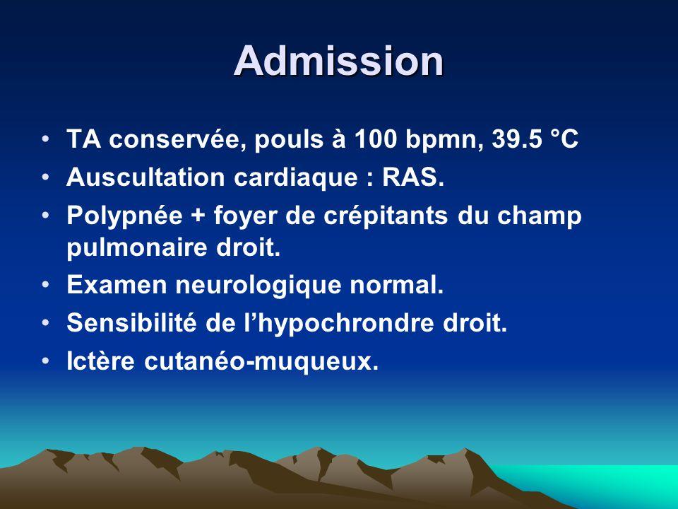 Admission TA conservée, pouls à 100 bpmn, 39.5 °C Auscultation cardiaque : RAS. Polypnée + foyer de crépitants du champ pulmonaire droit. Examen neuro