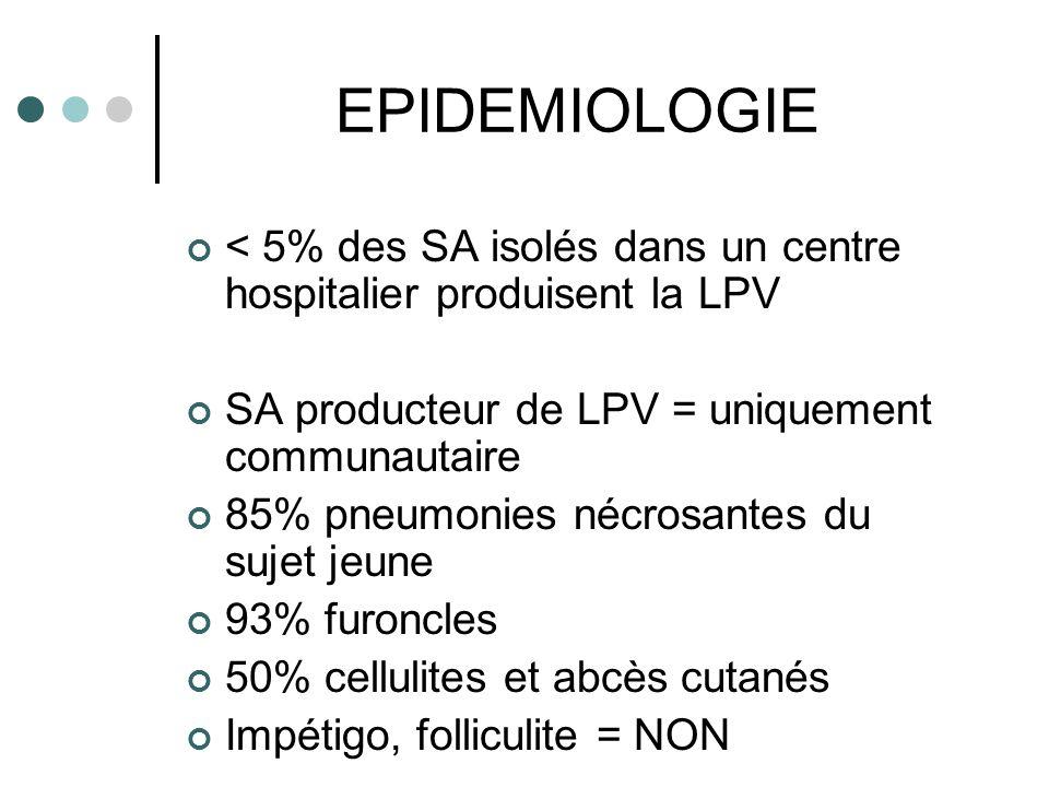EPIDEMIOLOGIE < 5% des SA isolés dans un centre hospitalier produisent la LPV SA producteur de LPV = uniquement communautaire 85% pneumonies nécrosant