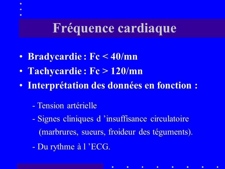 Estimation : - Fréquence cardiaque - Tension artérielle - Signes d 'hypoperfusion : marbrures, sueurs, teint grisâtre, froideur des téguments.