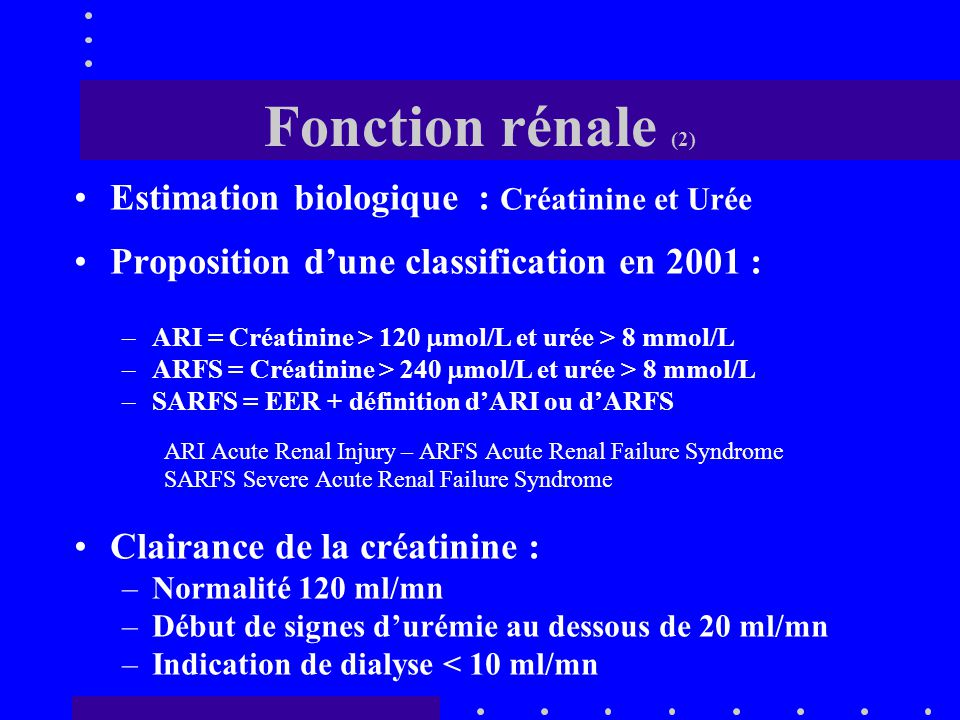 Fonction rénale (1) Estimation clinique : –Diurèse : Éliminer la rétention d'urines Sondage vésical –Anurie : 0 –Oligurie < 500 ml –OAP et anasarque +