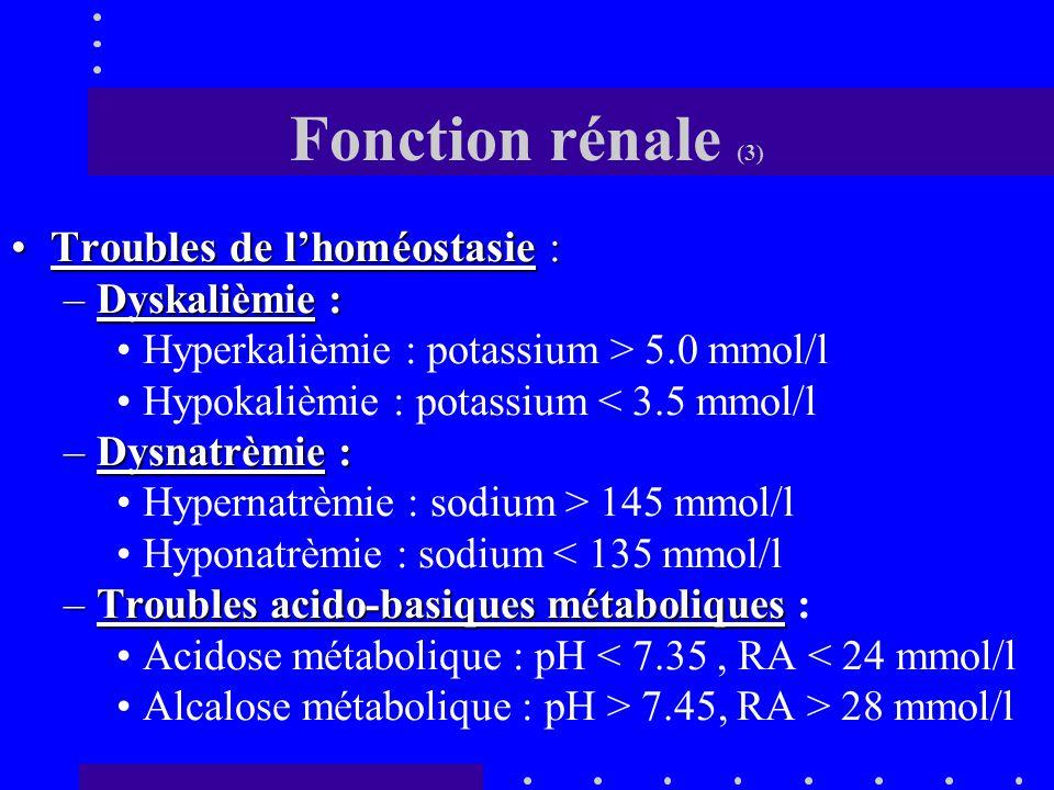 Fonction rénale (2) Estimation biologique : Créatinine et Urée Proposition d'une classification en 2001 : –ARI = Créatinine > 120  mol/L et urée > 8