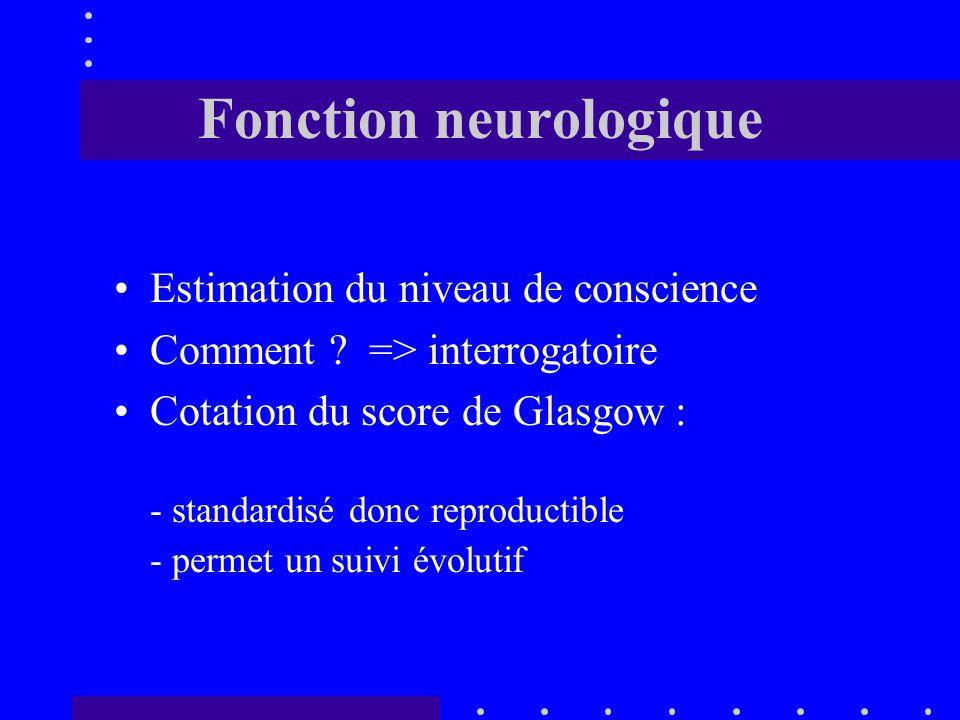Fonction neurologique Estimation du niveau de conscience Comment .