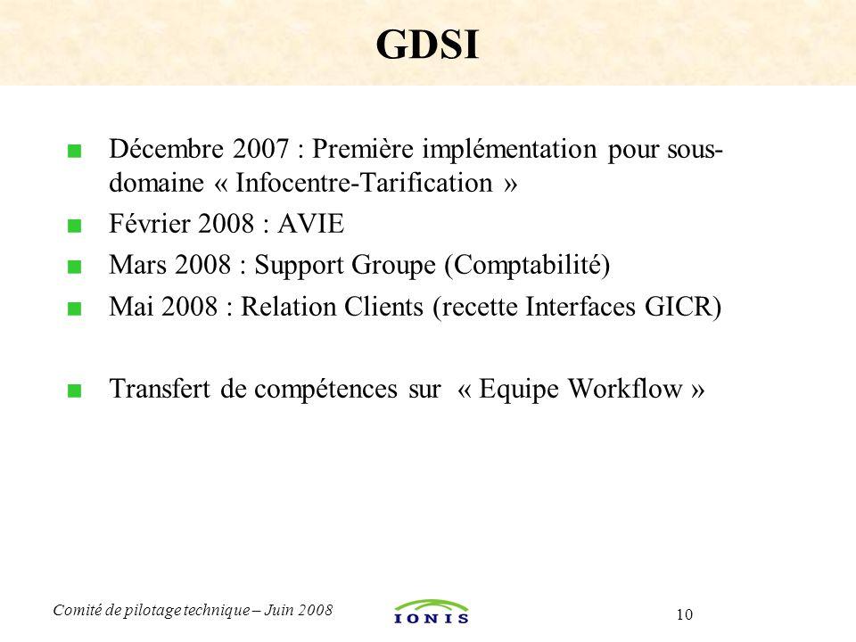 10 Comité de pilotage technique – Juin 2008 ■ Décembre 2007 : Première implémentation pour sous- domaine « Infocentre-Tarification » ■ Février 2008 :