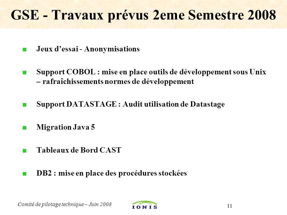 11 Comité de pilotage technique – Juin 2008 ■ Jeux d'essai - Anonymisations ■ Support COBOL : mise en place outils de développement sous Unix – rafraî