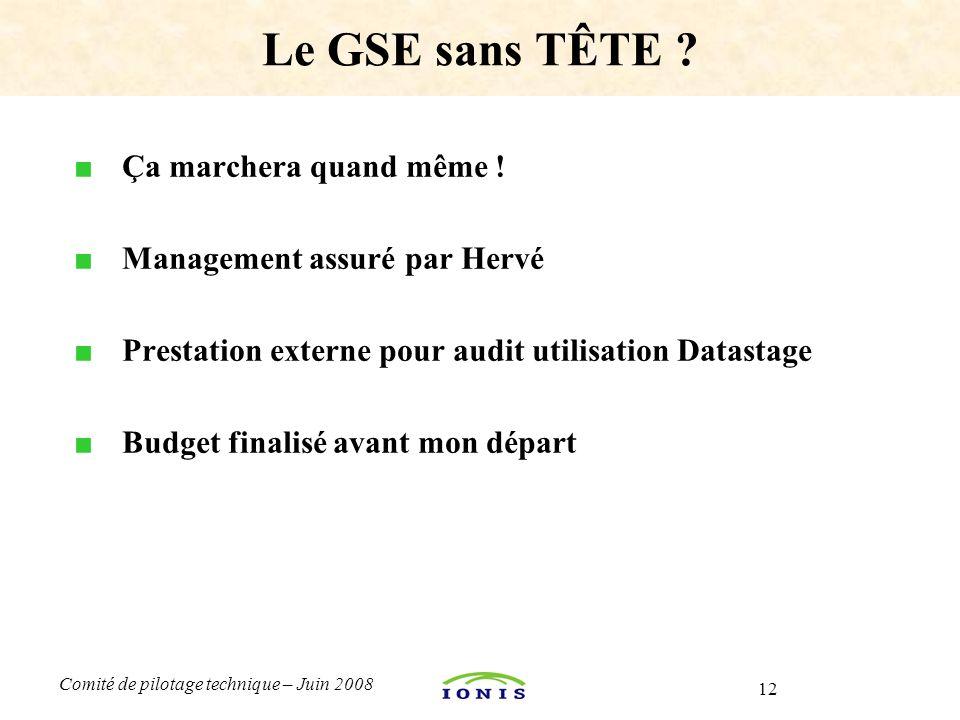 12 Comité de pilotage technique – Juin 2008 ■ Ça marchera quand même ! ■ Management assuré par Hervé ■ Prestation externe pour audit utilisation Datas
