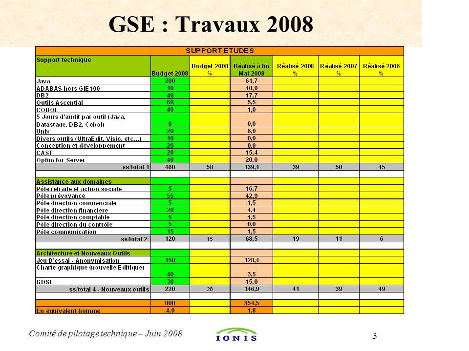 3 Comité de pilotage technique – Juin 2008 GSE : Travaux 2008