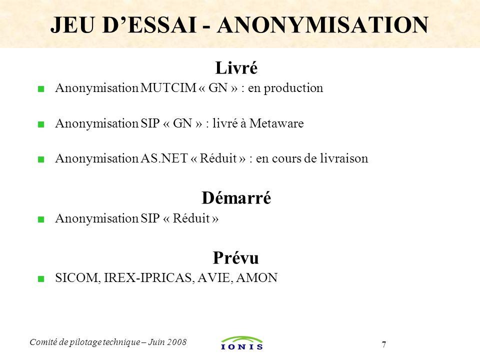 7 Comité de pilotage technique – Juin 2008 Livré ■ Anonymisation MUTCIM « GN » : en production ■ Anonymisation SIP « GN » : livré à Metaware ■ Anonymisation AS.NET « Réduit » : en cours de livraison Démarré ■ Anonymisation SIP « Réduit » Prévu ■ SICOM, IREX-IPRICAS, AVIE, AMON JEU D'ESSAI - ANONYMISATION