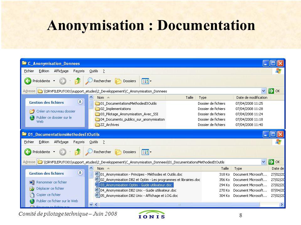 8 Comité de pilotage technique – Juin 2008 Anonymisation : Documentation