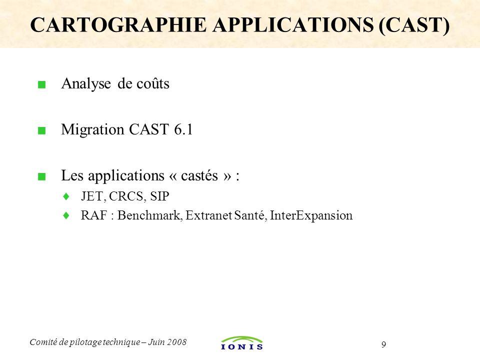 9 Comité de pilotage technique – Juin 2008 ■ Analyse de coûts ■ Migration CAST 6.1 ■ Les applications « castés » :  JET, CRCS, SIP  RAF : Benchmark,