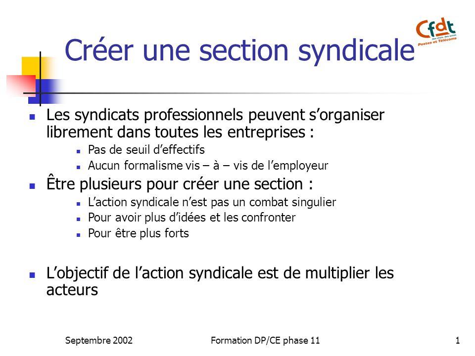 Septembre 2002Formation DP/CE phase 111 Créer une section syndicale Les syndicats professionnels peuvent s'organiser librement dans toutes les entreprises : Pas de seuil d'effectifs Aucun formalisme vis – à – vis de l'employeur Être plusieurs pour créer une section : L'action syndicale n'est pas un combat singulier Pour avoir plus d'idées et les confronter Pour être plus forts L'objectif de l'action syndicale est de multiplier les acteurs