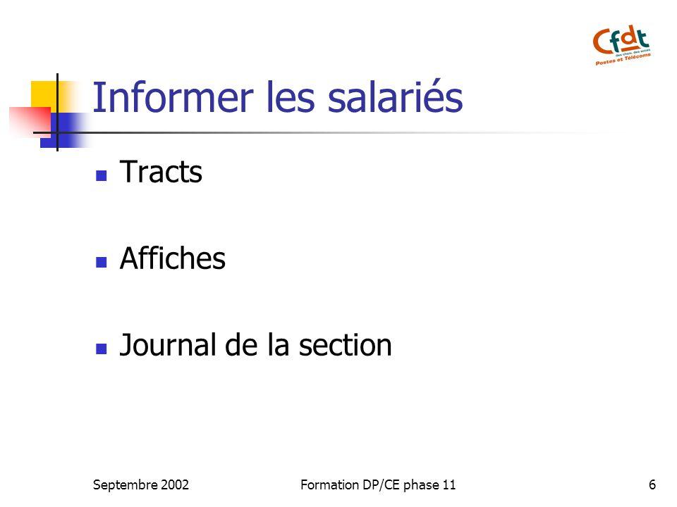 Septembre 2002Formation DP/CE phase 116 Informer les salariés Tracts Affiches Journal de la section