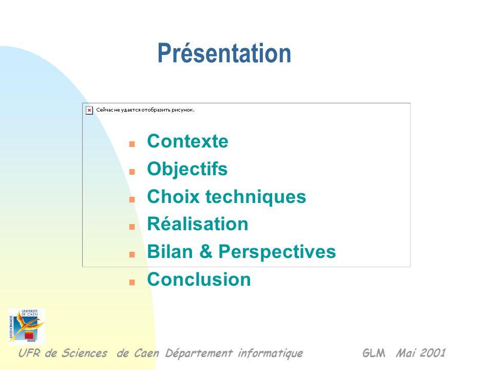 n Contexte n Objectifs n Choix techniques n Réalisation n Bilan & Perspectives n Conclusion Présentation UFR de Sciences de Caen Département informatique GLM Mai 2001