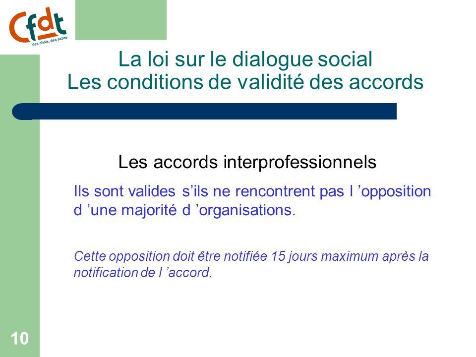 9 La loi sur le dialogue social Les conditions de validité des accords 3 niveaux de négociation Les accords nationaux interprofessionnels Les accords de branche Les accords d 'entreprise