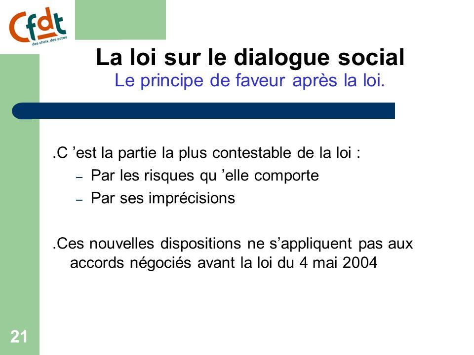 20 Le principe de faveur avant la loi Accord d'entreprise + favorable que l 'accord de branche  L 'accord d'entreprise prime -------- Accord d'entreprise - favorable que l 'accord de branche  Les dispositions de l 'accord de branche s'appliquent La loi sur le dialogue social