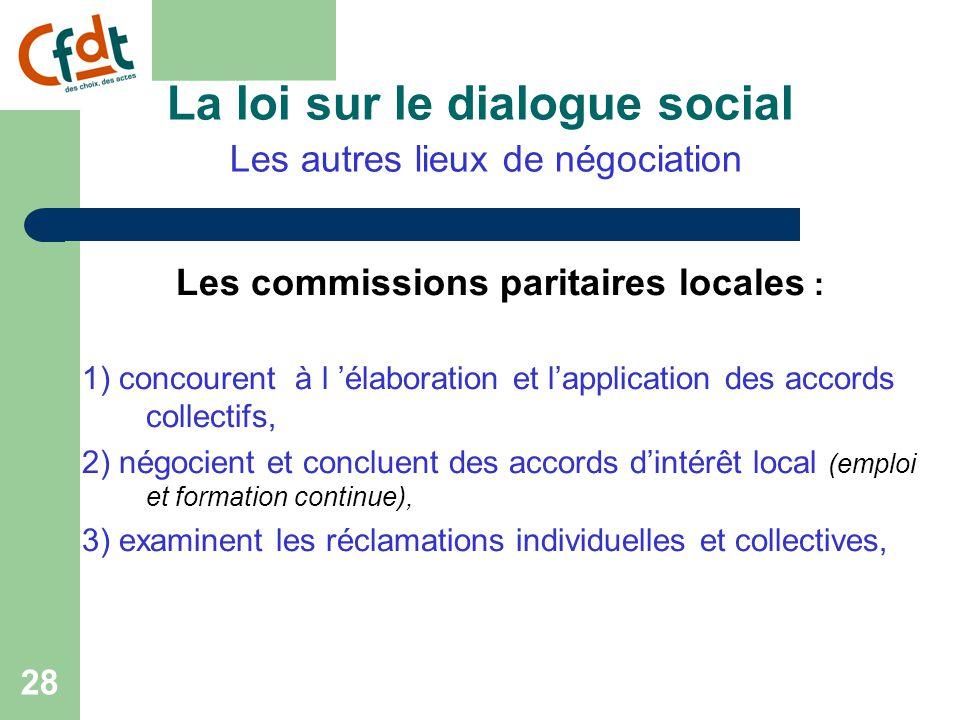 27 La loi sur le dialogue social Les autres lieux de négociation Possibilité de conclure des accords de groupe.