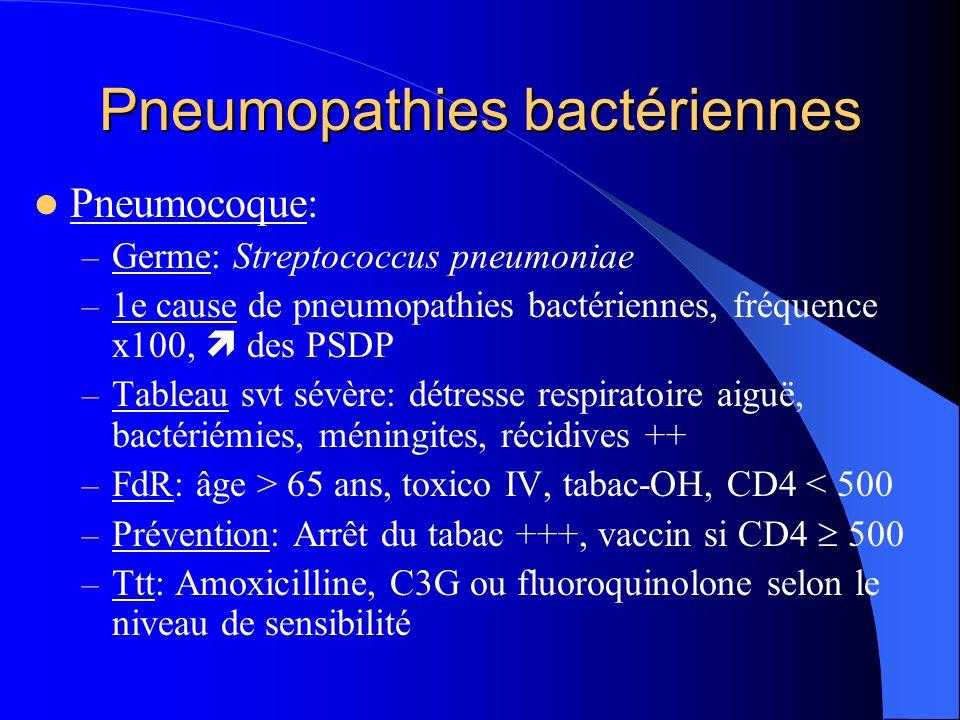 Pneumopathies bactériennes Pneumocoque: – Germe: Streptococcus pneumoniae – 1e cause de pneumopathies bactériennes, fréquence x100,  des PSDP – Table