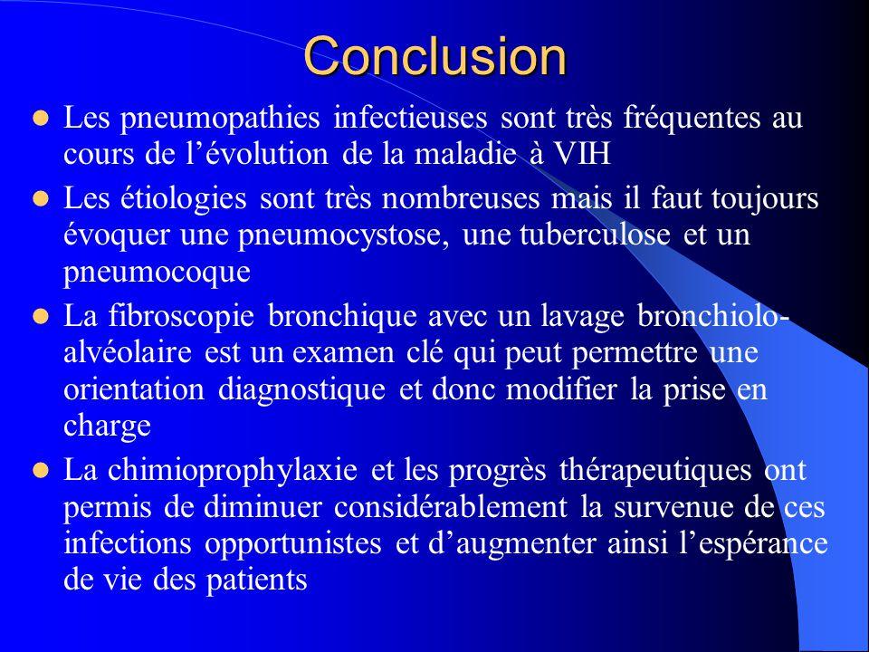 Conclusion Les pneumopathies infectieuses sont très fréquentes au cours de l'évolution de la maladie à VIH Les étiologies sont très nombreuses mais il