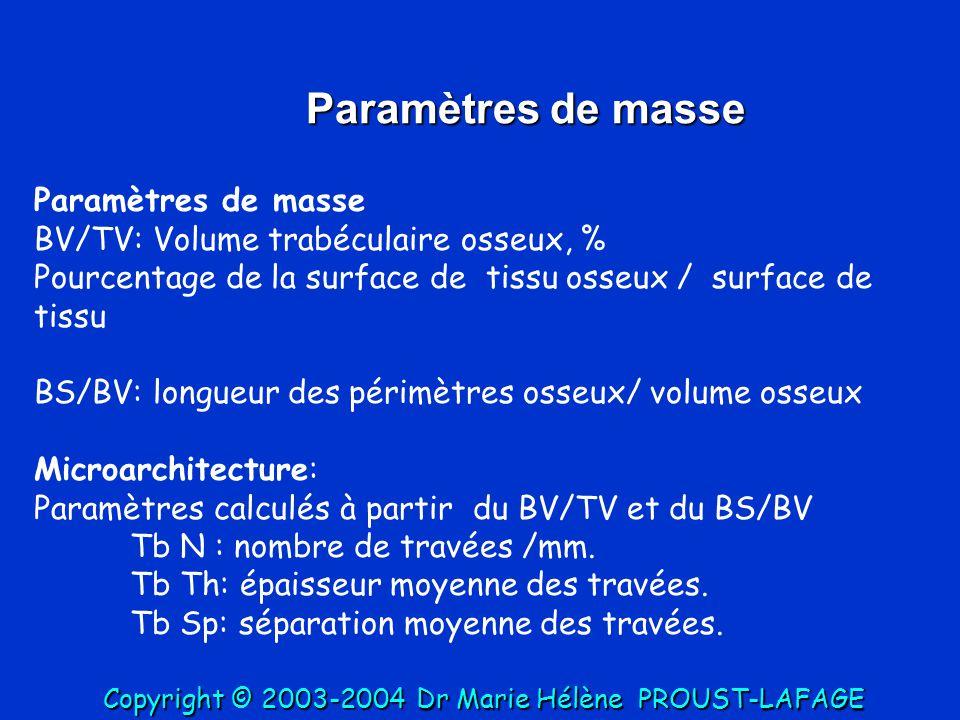 Paramètres de masse BV/TV: Volume trabéculaire osseux, % Pourcentage de la surface de tissu osseux / surface de tissu BS/BV: longueur des périmètres o
