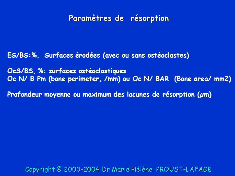 Paramètres de résorption ES/BS:%, Surfaces érodées (avec ou sans ostéoclastes) OcS/BS, %: surfaces ostéoclastiques Oc N/ B Pm (bone perimeter, /mm) ou