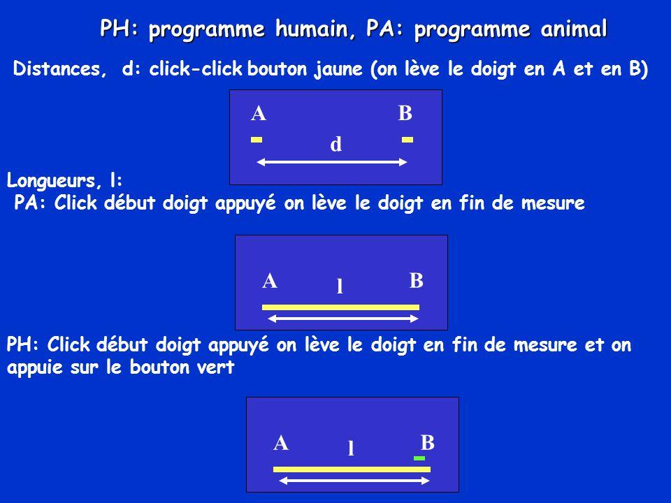 Distances, d: click-click bouton jaune (on lève le doigt en A et en B) AB d Longueurs, l: PA: Click début doigt appuyé on lève le doigt en fin de mesu