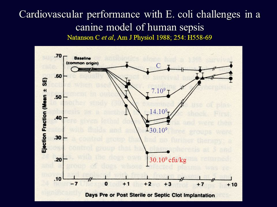 Cardiovascular performance with E. coli challenges in a canine model of human sepsis Natanson C et al, Am J Physiol 1988; 254: H558-69 C 7.10 9 14.10