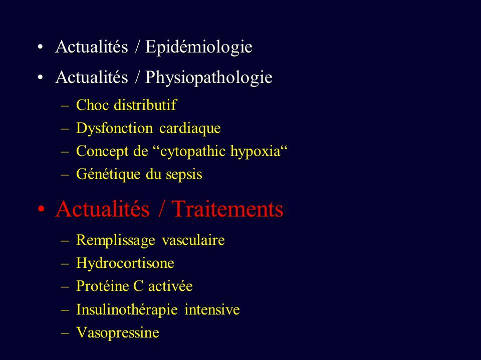 Actualités / EpidémiologieActualités / Epidémiologie Actualités / PhysiopathologieActualités / Physiopathologie –Choc distributif –Dysfonction cardiaque –Concept de cytopathic hypoxia –Génétique du sepsis Actualités / TraitementsActualités / Traitements –Remplissage vasculaire –Hydrocortisone –Protéine C activée –Insulinothérapie intensive –Vasopressine