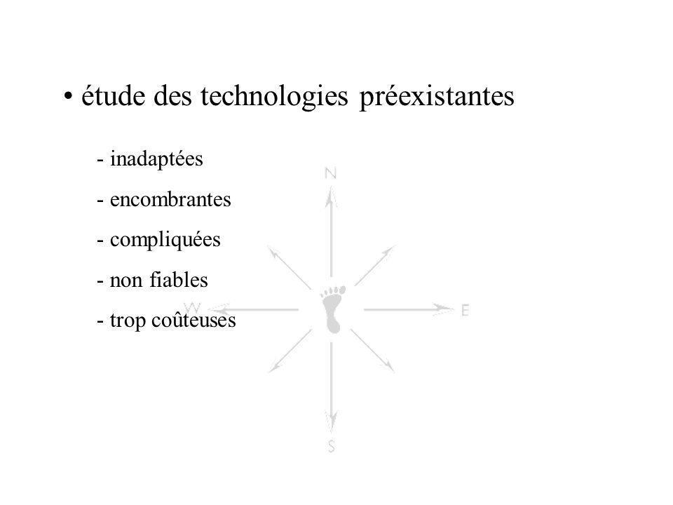 étude des technologies préexistantes - inadaptées - encombrantes - compliquées - non fiables - trop coûteuses