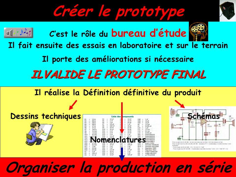 Créer le prototype C'est le rôle du bureau d'étude Il fait ensuite des essais en laboratoire et sur le terrain Il porte des améliorations si nécessair