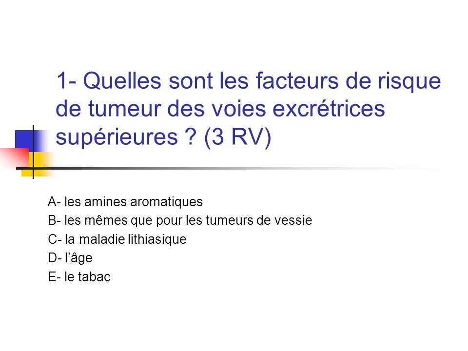 1- Quelles sont les facteurs de risque de tumeur des voies excrétrices supérieures ? (3 RV) A- les amines aromatiques B- les mêmes que pour les tumeur