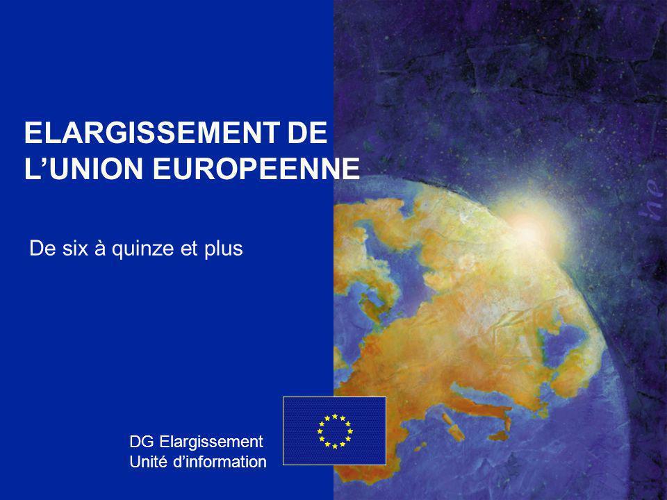 DG ELARGISSEMENT 1 ELARGISSEMENT DE L'UNION EUROPEENNE DG Elargissement Unité d'information De six à quinze et plus