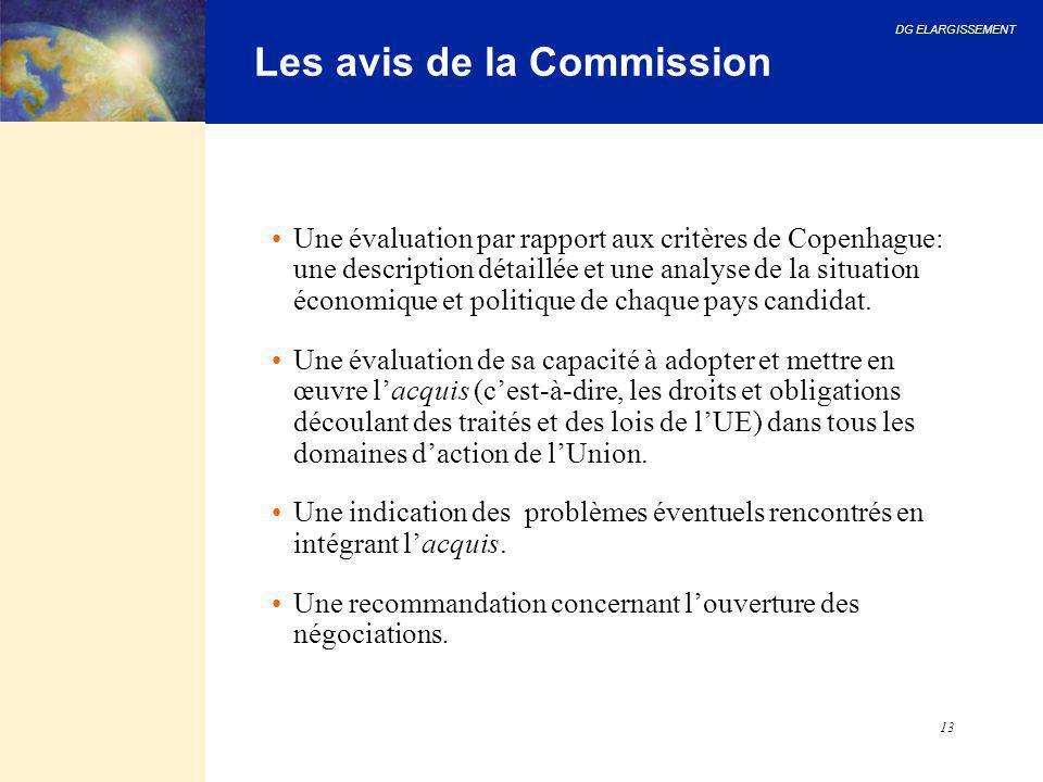 DG ELARGISSEMENT 13 Les avis de la Commission Une évaluation par rapport aux critères de Copenhague: une description détaillée et une analyse de la si