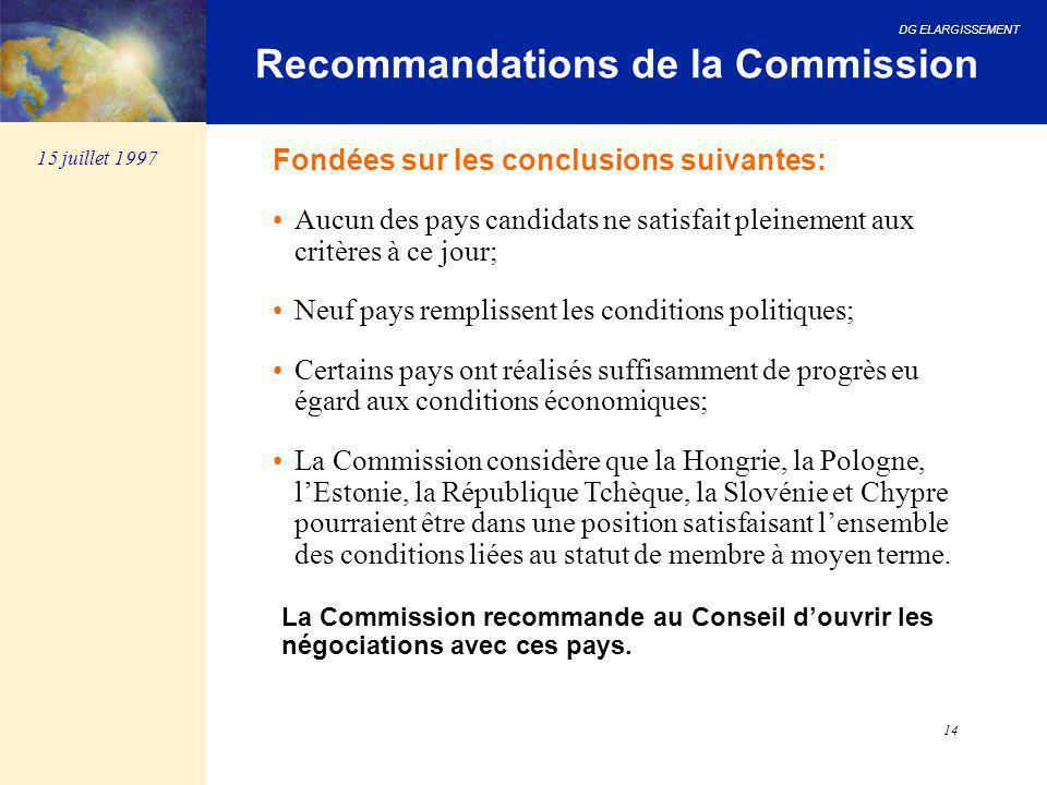 DG ELARGISSEMENT 14 Recommandations de la Commission Fondées sur les conclusions suivantes: Aucun des pays candidats ne satisfait pleinement aux critè