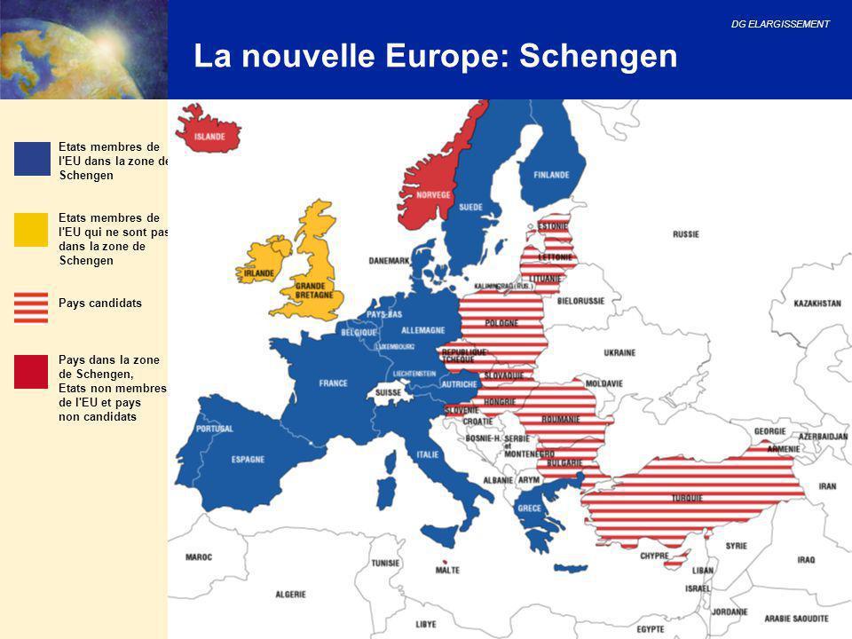 DG ELARGISSEMENT 18 La nouvelle Europe: Schengen Etats membres de l'EU dans la zone de Schengen Etats membres de l'EU qui ne sont pas dans la zone de
