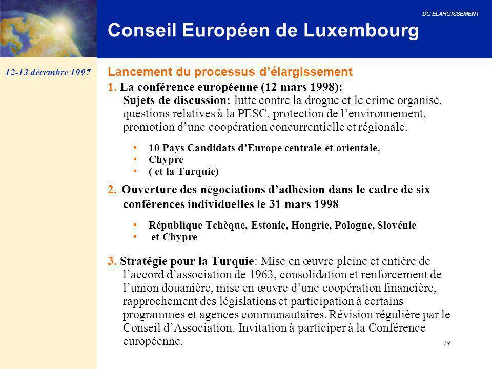 DG ELARGISSEMENT 19 Conseil Européen de Luxembourg 1. La conférence européenne (12 mars 1998): Sujets de discussion: lutte contre la drogue et le crim