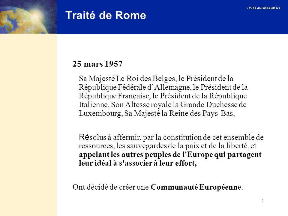 DG ELARGISSEMENT 2 Traité de Rome 25 mars 1957 Sa Majesté Le Roi des Belges, le Président de la République Fédérale d'Allemagne, le Président de la Ré