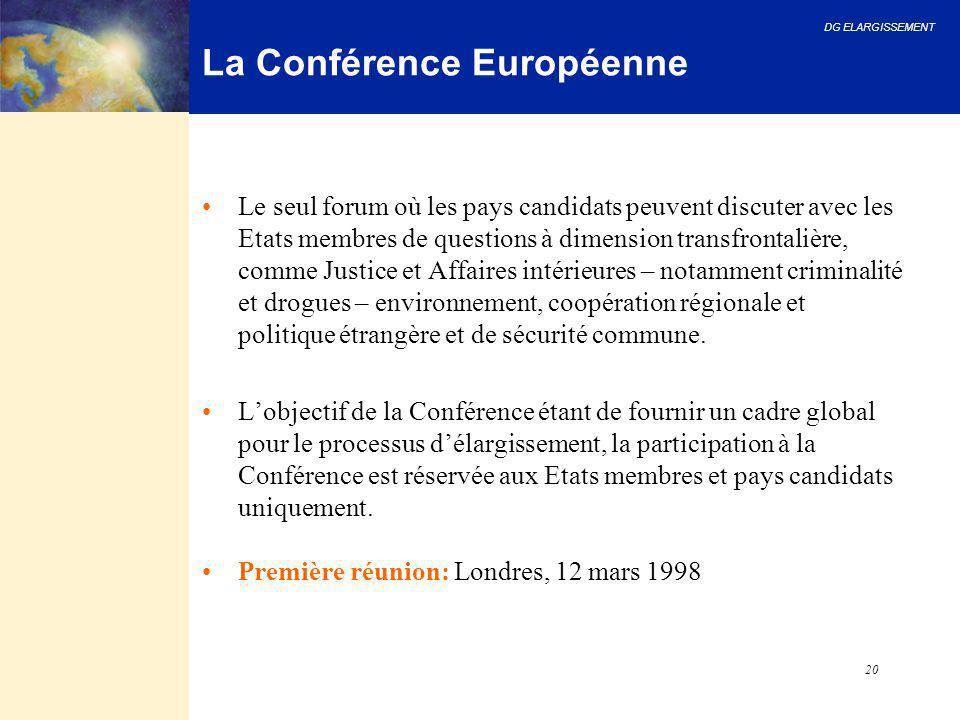 DG ELARGISSEMENT 20 La Conférence Européenne Le seul forum où les pays candidats peuvent discuter avec les Etats membres de questions à dimension tran