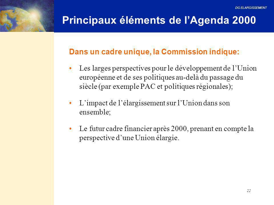 DG ELARGISSEMENT 22 Dans un cadre unique, la Commission indique: Les larges perspectives pour le développement de l'Union européenne et de ses politiq
