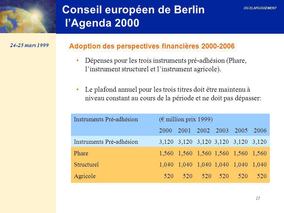DG ELARGISSEMENT 25 Conseil européen de Berlin l'Agenda 2000 Dépenses pour les trois instruments pré-adhésion (Phare, l'instrument structurel et l'ins