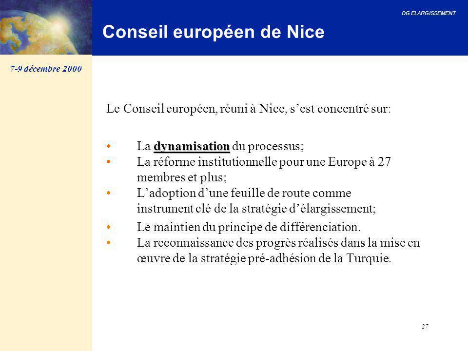DG ELARGISSEMENT 27 Conseil européen de Nice Le Conseil européen, réuni à Nice, s'est concentré sur: dynamisation La dynamisation du processus; La réf