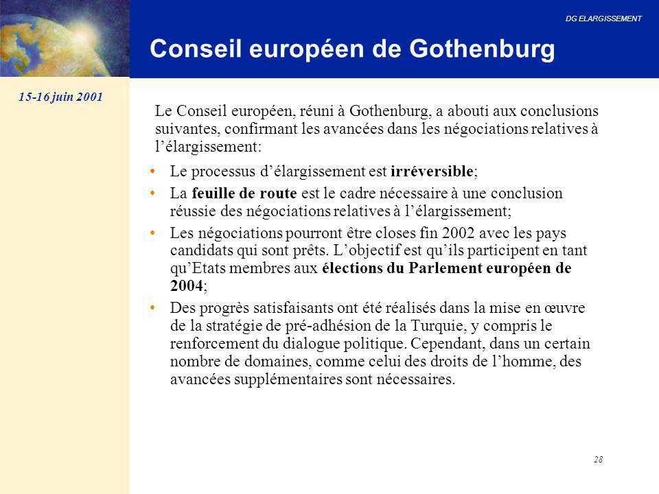 DG ELARGISSEMENT 28 Conseil européen de Gothenburg Le processus d'élargissement est irréversible; La feuille de route est le cadre nécessaire à une co