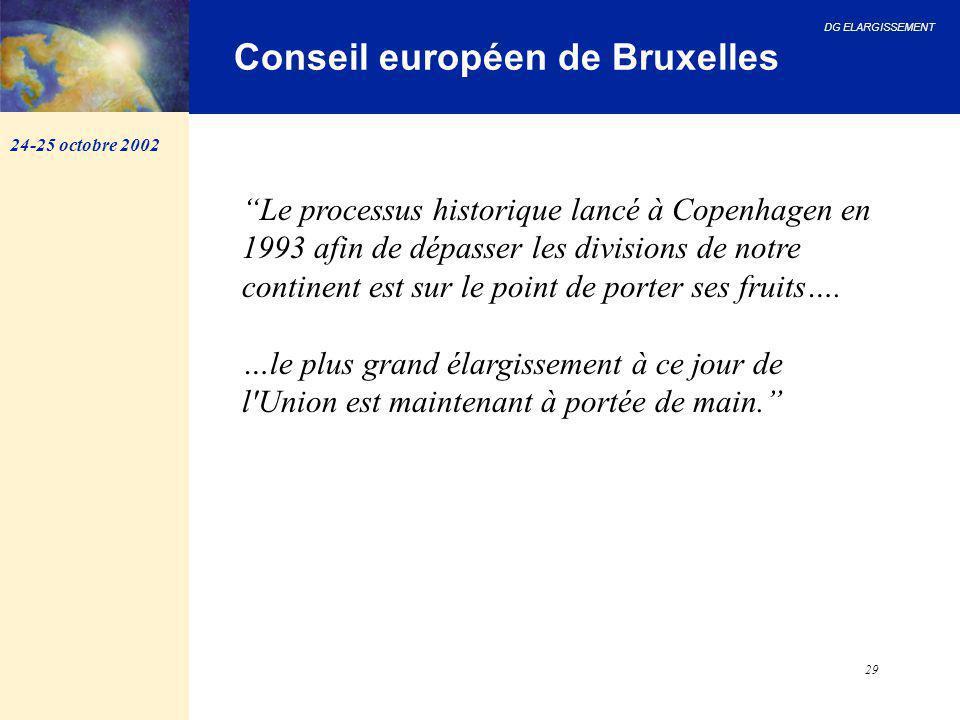 """DG ELARGISSEMENT 29 Conseil européen de Bruxelles """"Le processus historique lancé à Copenhagen en 1993 afin de dépasser les divisions de notre continen"""
