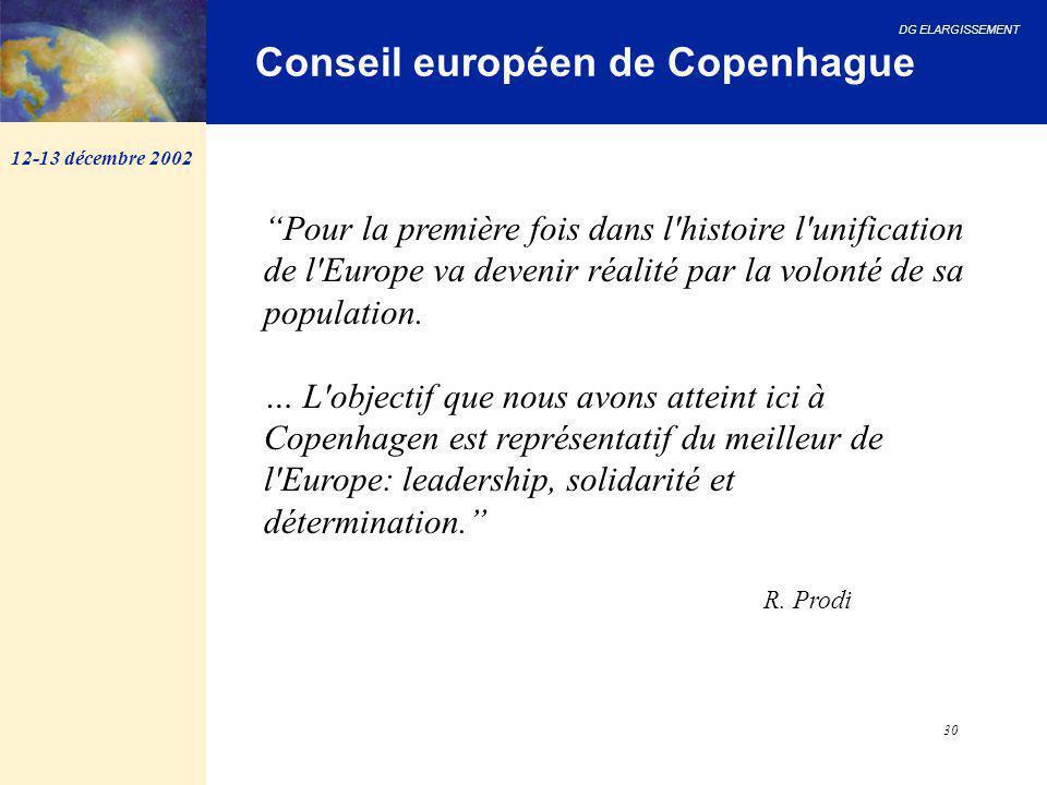 """DG ELARGISSEMENT 30 12-13 décembre 2002 Conseil européen de Copenhague """"Pour la première fois dans l'histoire l'unification de l'Europe va devenir réa"""