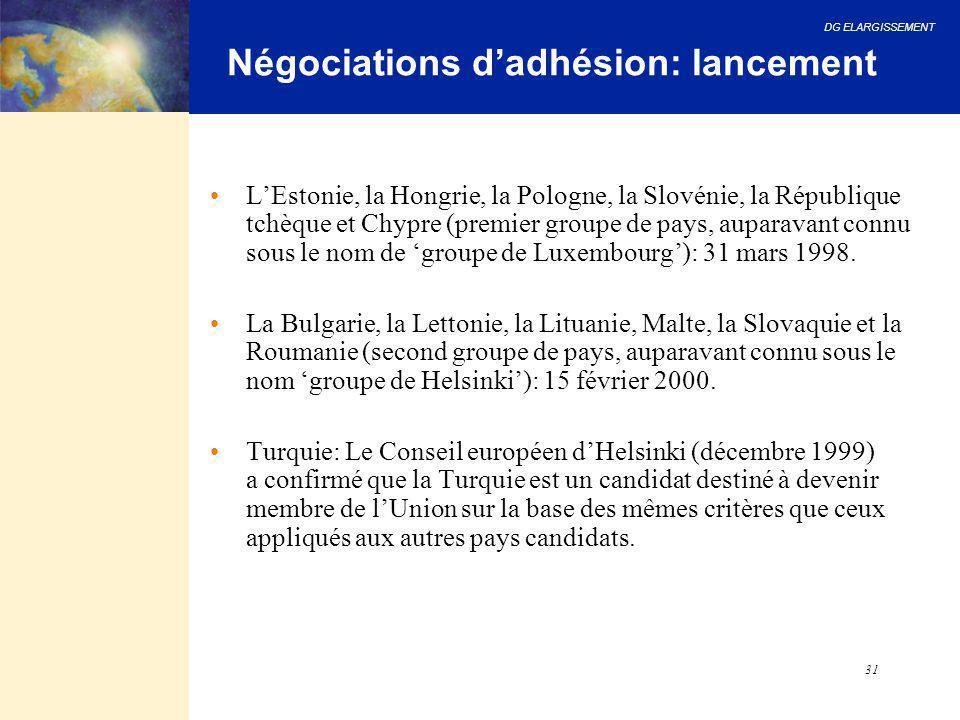 DG ELARGISSEMENT 31 Négociations d'adhésion: lancement L'Estonie, la Hongrie, la Pologne, la Slovénie, la République tchèque et Chypre (premier groupe
