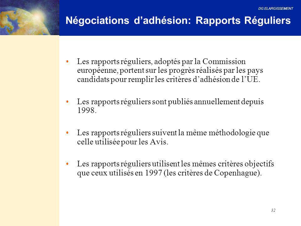 DG ELARGISSEMENT 32 Négociations d'adhésion: Rapports Réguliers Les rapports réguliers, adoptés par la Commission européenne, portent sur les progrès