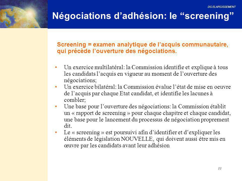 """DG ELARGISSEMENT 33 Négociations d'adhésion: le """"screening"""" Un exercice multilatéral: la Commission identifie et explique à tous les candidats l'acqui"""