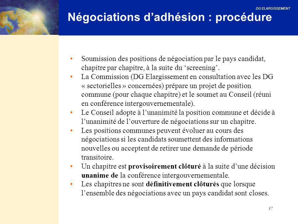 DG ELARGISSEMENT 37 Négociations d'adhésion : procédure Soumission des positions de négociation par le pays candidat, chapitre par chapitre, à la suit