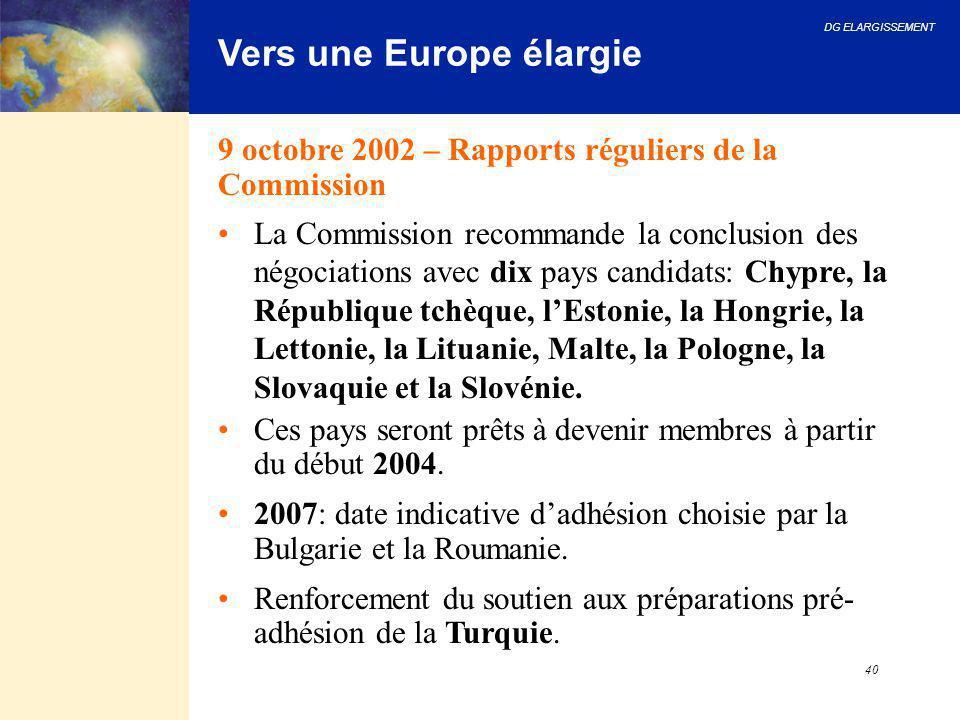 DG ELARGISSEMENT 40 Vers une Europe élargie 9 octobre 2002 – Rapports réguliers de la Commission La Commission recommande la conclusion des négociatio
