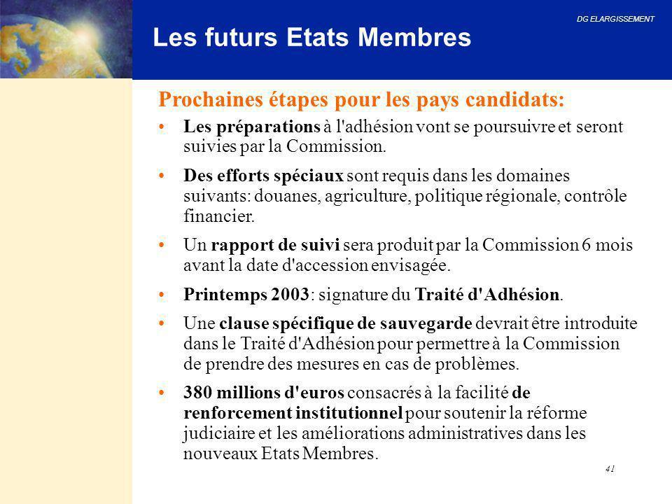 DG ELARGISSEMENT 41 Les futurs Etats Membres Prochaines étapes pour les pays candidats: Les préparations à l'adhésion vont se poursuivre et seront sui