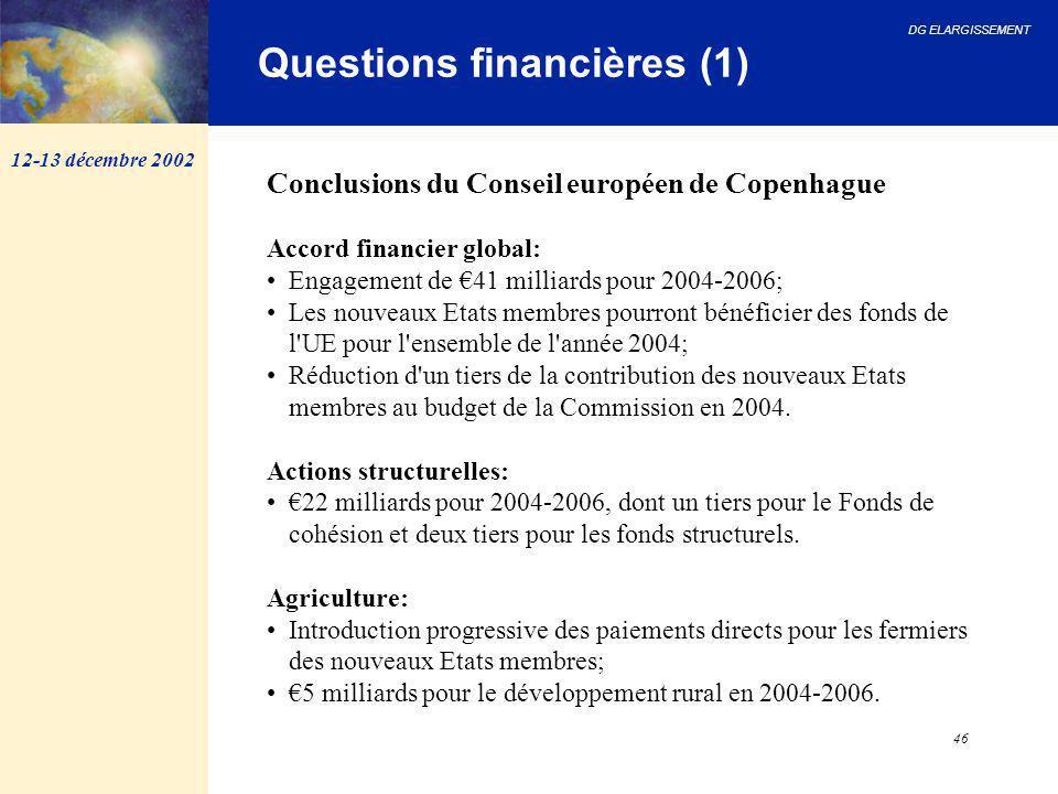 DG ELARGISSEMENT 46 Questions financières (1) Conclusions du Conseil européen de Copenhague Accord financier global: Engagement de €41 milliards pour